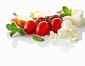 Vine tomatoes, onions and feta cheese