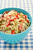 Asian Cole Slaw in a Blue Bowl
