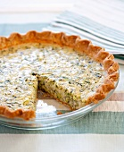 Zucchini Quiche with Slice Removed; In Baking Dish