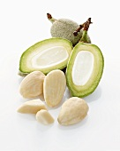 Raw almonds and almond hulls