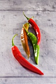 Four fresh chilli peppers