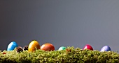 Colourful Easter eggs on moss