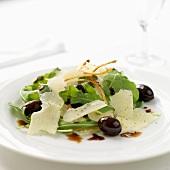 Rocket salad with olives and parmesan