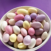 Pastel-coloured sugared almonds