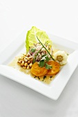 Tilapia Ceviche with Andean Corn, Sweet Potato and Citrus Aji Amarillo Sauce