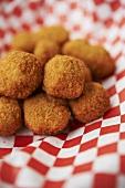 Fried Okra Balls on a Checkered Napkin