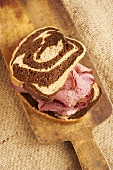 Smoked Pastrami Sandwich on Swirled Rye Bread