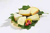 Spanish cheeses on leaves