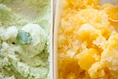 Mint sorbet and orange sorbet