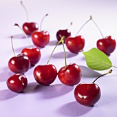 Cherries with stalks and leaf
