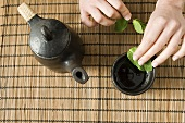 Mint tea being made