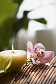 Orchid flower and a candle