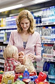 Mother and child in supermarket