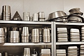 Kitchen devices and baking tins in a commercial kitchen