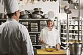 Chefs preparing food in a commercial kitchen