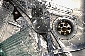 Wet culery in a sink