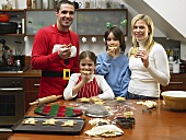 A family eating gingerbread men