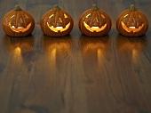 A row of Halloween pumpkins