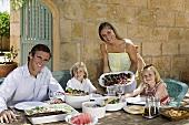 A family dining al fresco