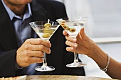 Toasting with martinis