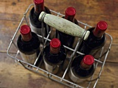 Wine bottles in a bottle basket