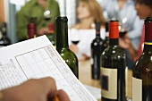 A wine tasting session and a degustation sheet