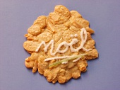 Almond biscuit with the word Noel