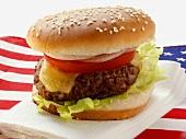 Hamburger auf USA-Flagge