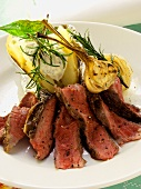 Beef steak with garlic, herbs and baked potato
