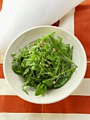 Mangetout salad with cress and bacon