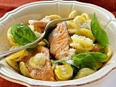 Orecchiette with salmon and basil
