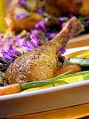 Stuffed poularde with vegetables and flowers