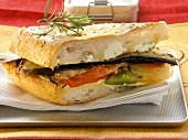 Sandwich with vegetables and cream cheese for lunch