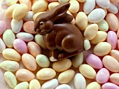 Chocolate bunny on pastel-coloured sugar eggs (jelly beans)