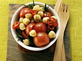 Chick pea and tomato salad with chili and rosemary