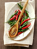 Fresh chili peppers and chili spice mix