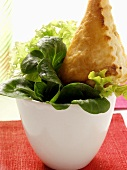 Small mixed salad with pastry parcel in bowl