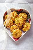 Florentine biscuits in heart-shaped box