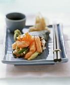 Temaki sushi with salmon and caviare