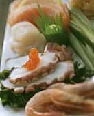 Sashimi with cuttlefish, salmon caviare, shrimps etc.