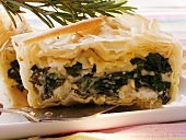 Puff pastry spinach pie with sheep's cheese & rosemary
