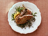 Roast legs of wild duck with herbs and lemon