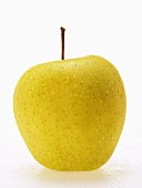 Golden Delicious apple with drops of water