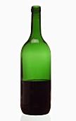 Red wine bottle, half full