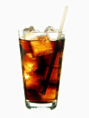 Cola with ice cubes and straw in glass