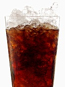 Cola with crushed ice in glass