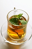 Peppermint tea with fresh mint (from above)