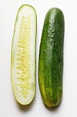 Two cucumber halves