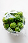 Brussels sprouts, covered with food wrap