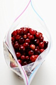 Cranberries in freezer bag
